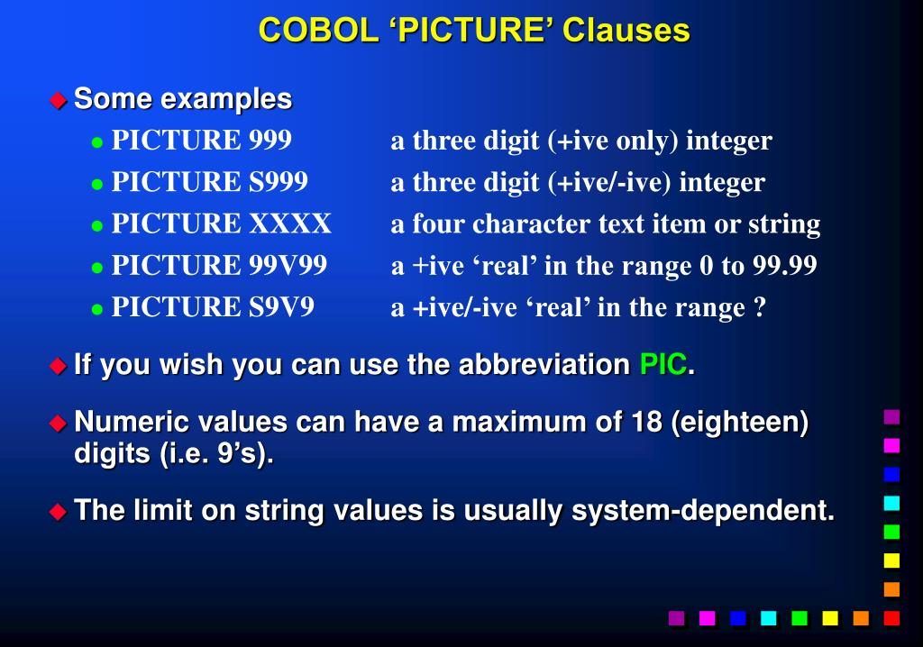 COBOL 'PICTURE' Clauses