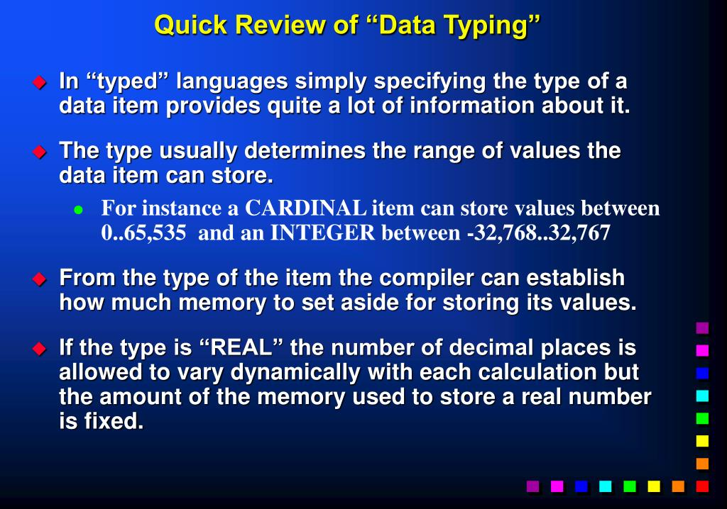 "Quick Review of ""Data Typing"""