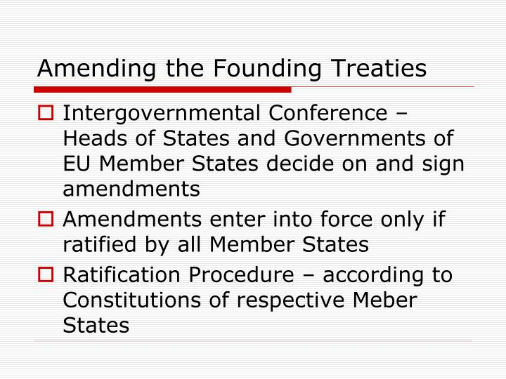 Amending the Founding Treaties