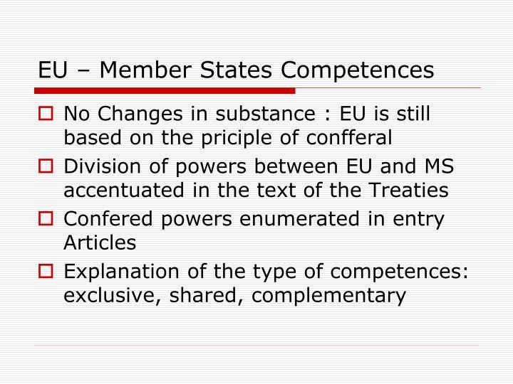 EU – Member States Competences