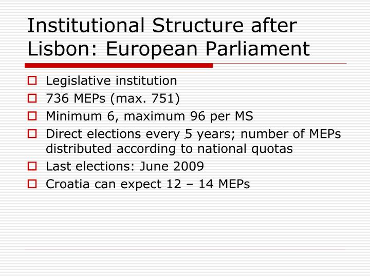 Institutional Structure after Lisbon: European Parliament