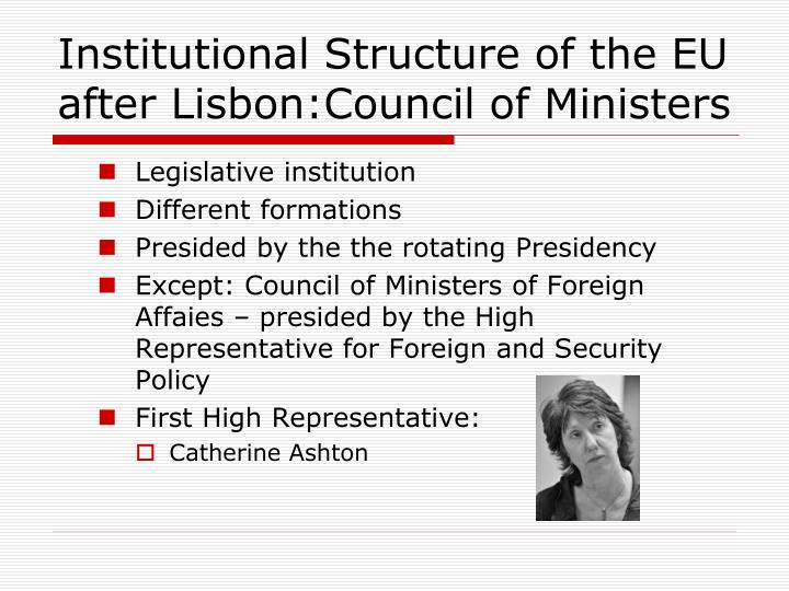 Institutional Structure of the EU after Lisbon:Council of Ministers