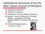 institutional structure of the eu after lisbon council of ministers