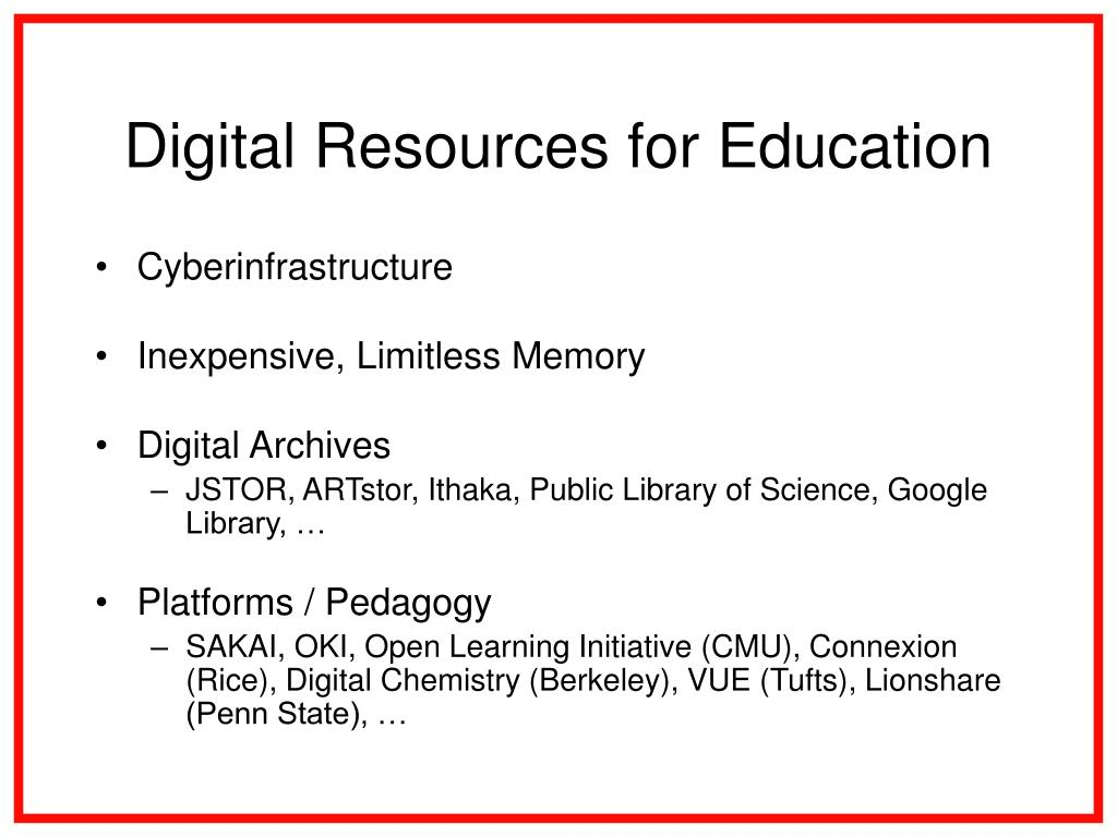 Digital Resources for Education