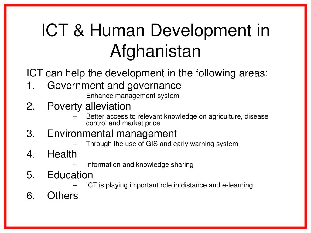 ICT & Human Development in Afghanistan