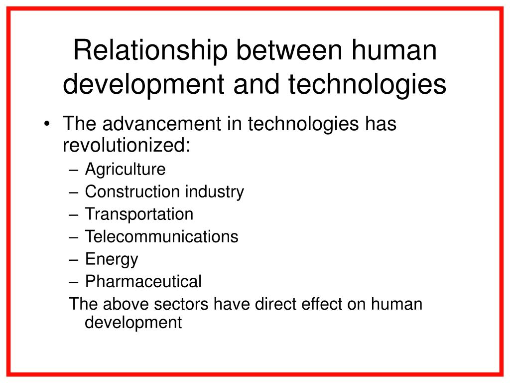 Relationship between human development and technologies