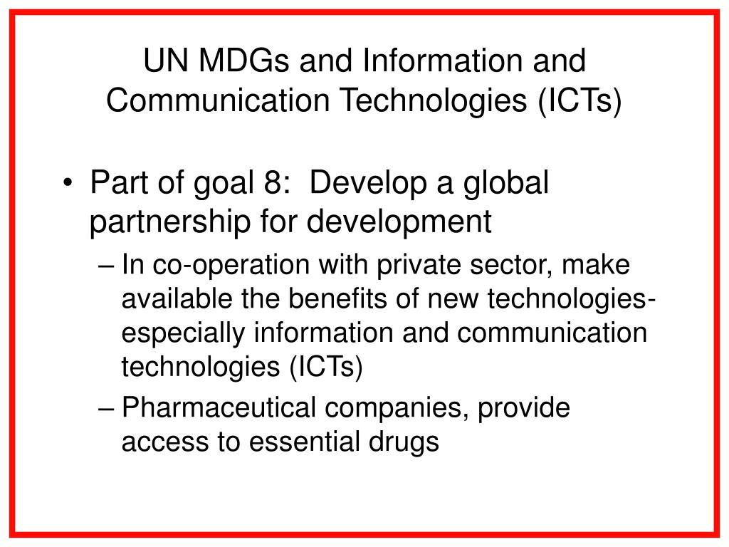 UN MDGs and Information and