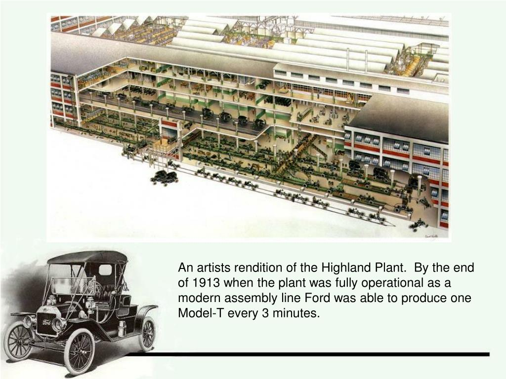 An artists rendition of the Highland Plant.  By the end of 1913 when the plant was fully operational as a modern assembly line Ford was able to produce one Model-T every 3 minutes.