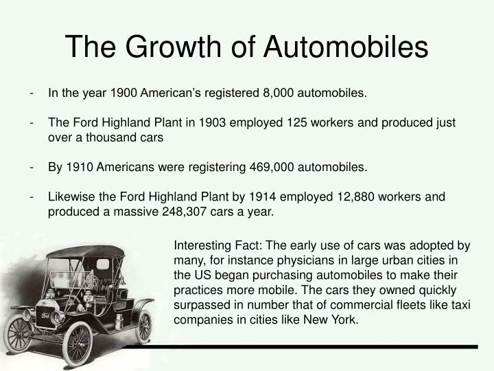 The growth of automobiles