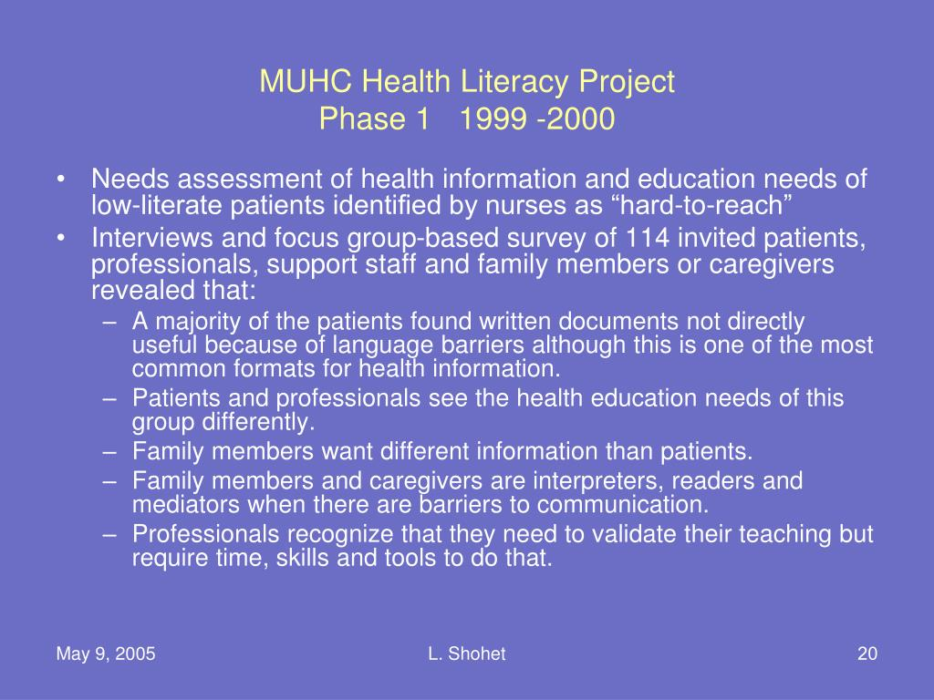 MUHC Health Literacy Project