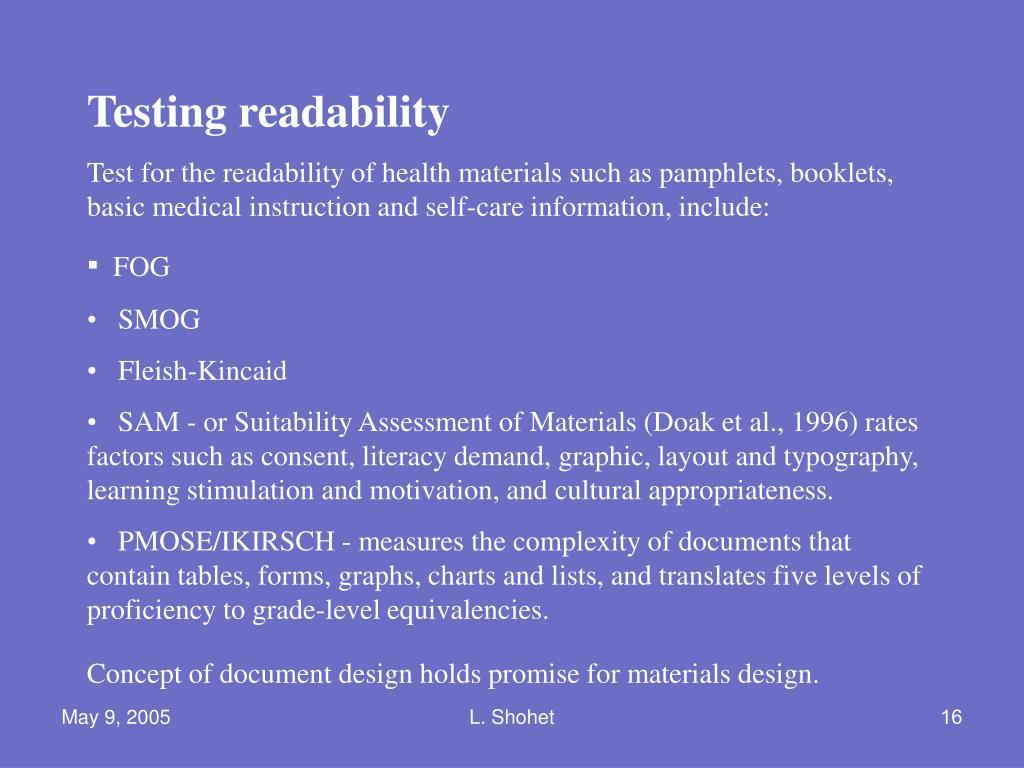 Testing readability