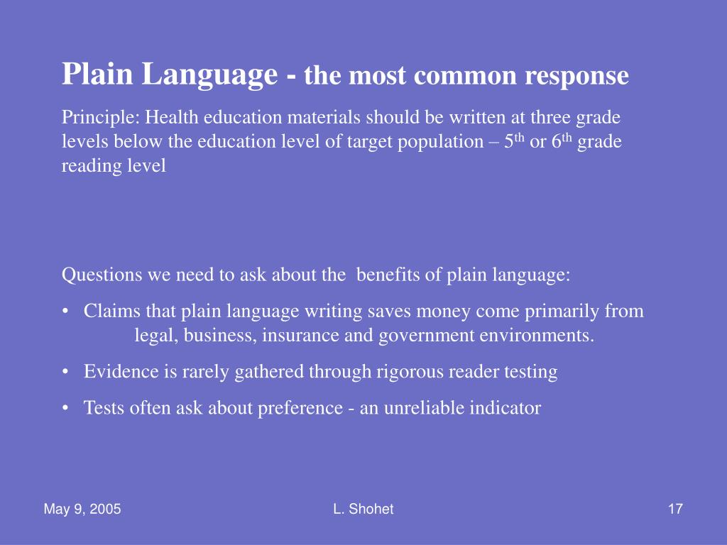 Plain Language -