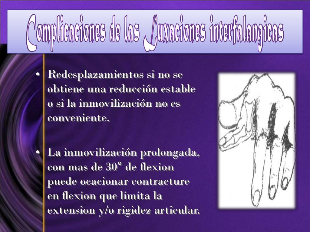 Complicaciones de las Luxaciones interfalangicas