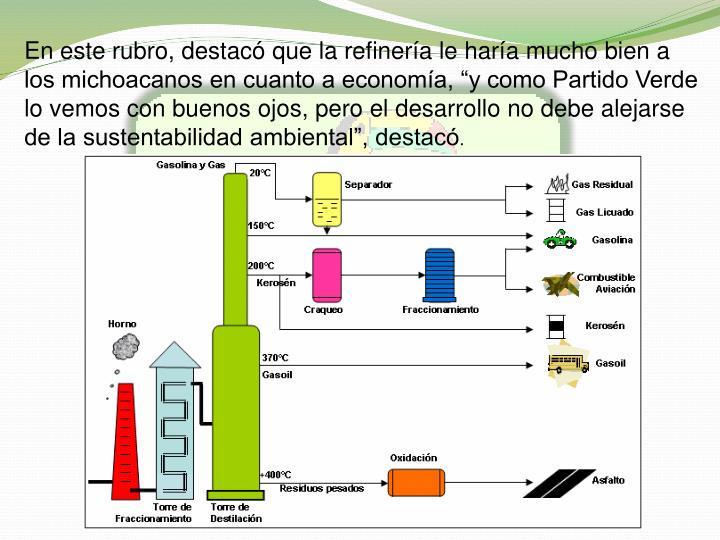 En este rubro, destac que la refinera le hara mucho bien a los michoacanos en cuanto a economa, y como Partido Verde lo vemos con buenos ojos, pero el desarrollo no debe alejarse de la sustentabilidad ambiental, destac