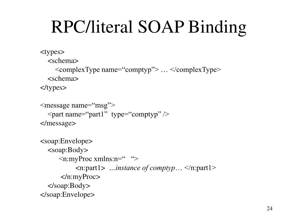 RPC/literal SOAP Binding
