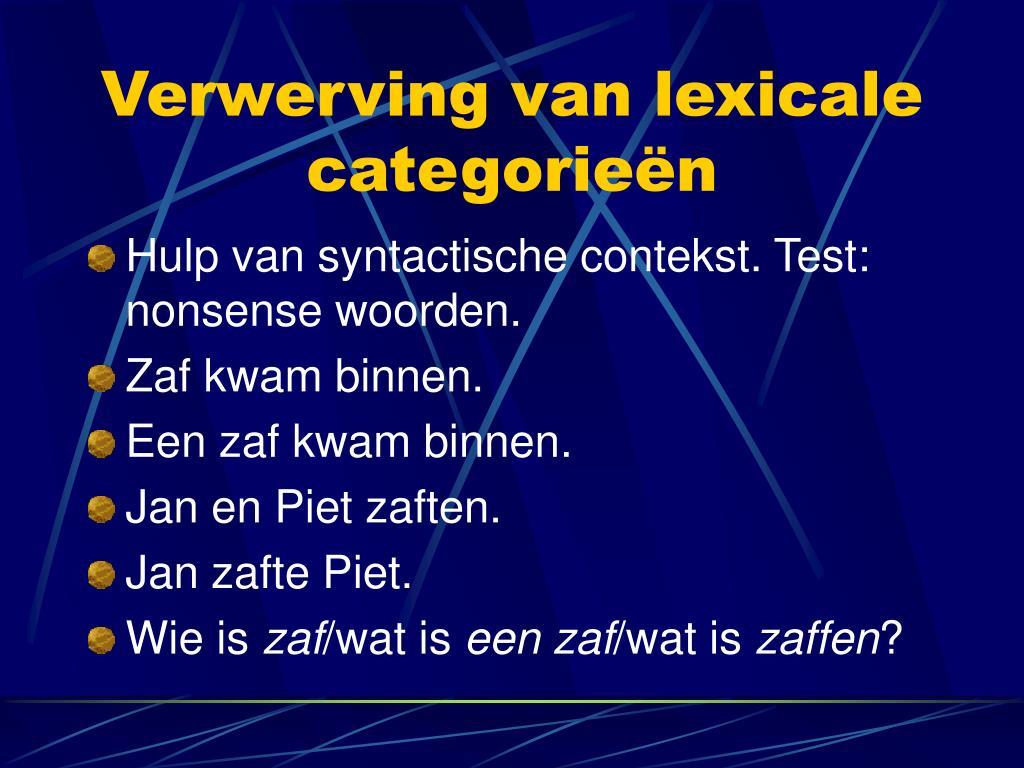 Verwerving van lexicale categorieën