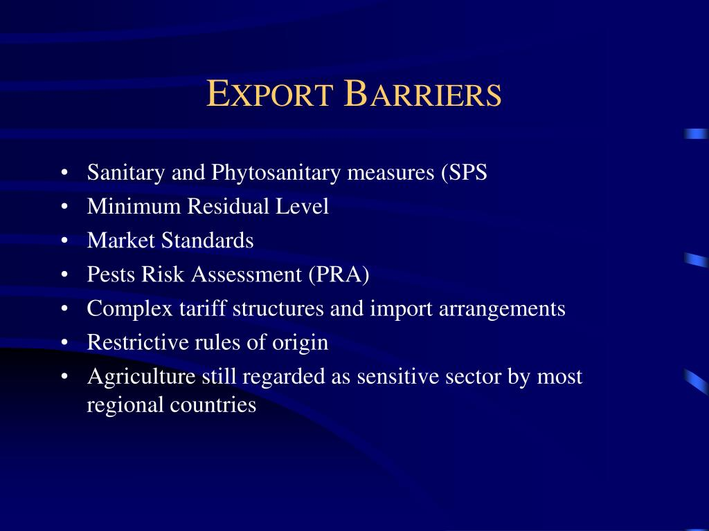 Export Barriers