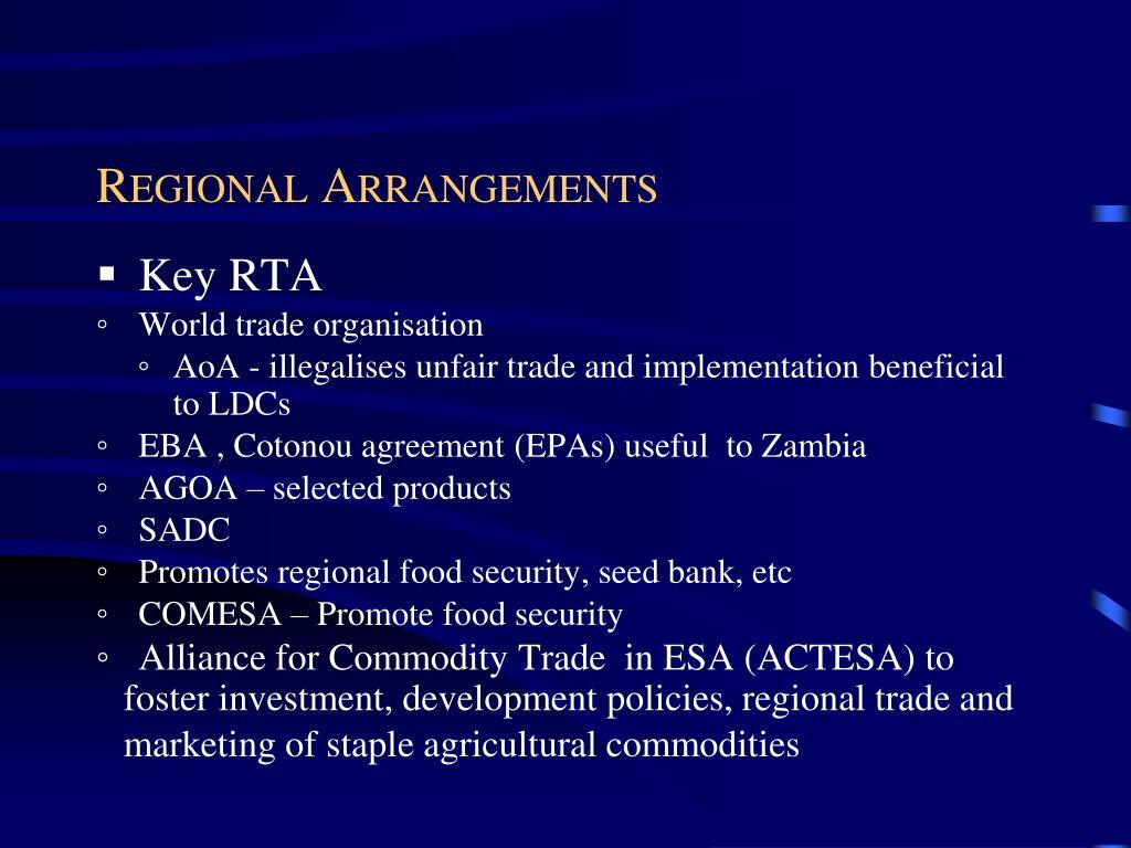 Regional Arrangements