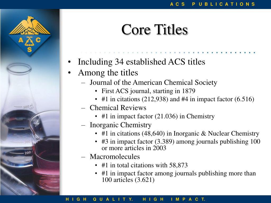 Including 34 established ACS titles