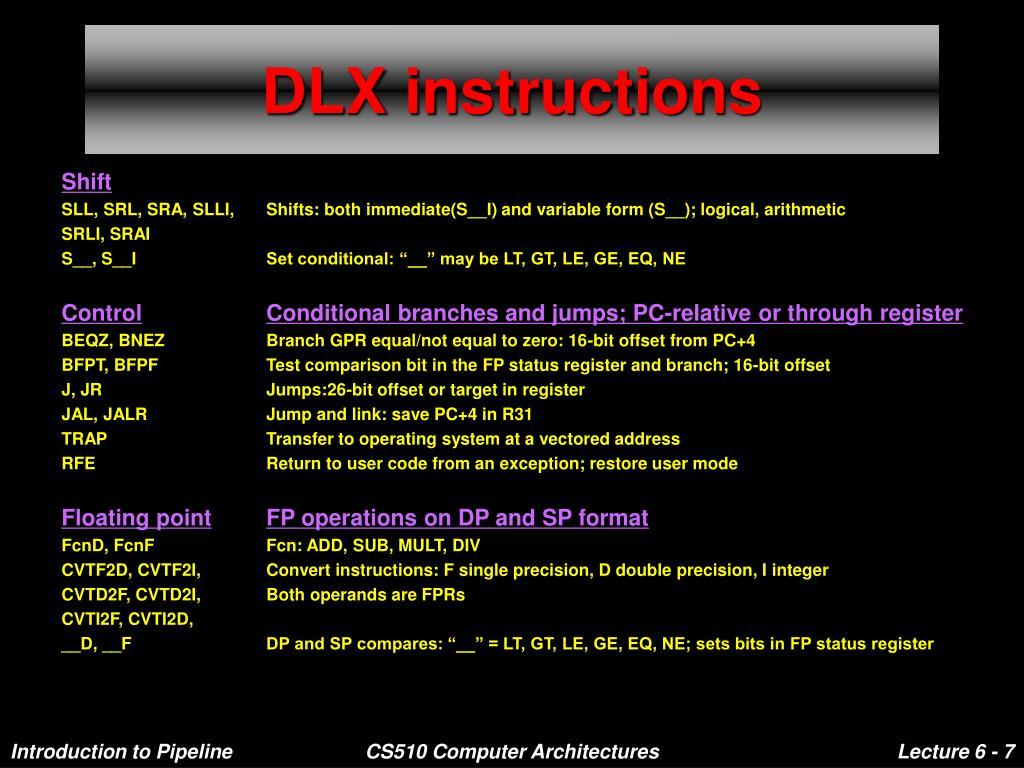 DLX instructions