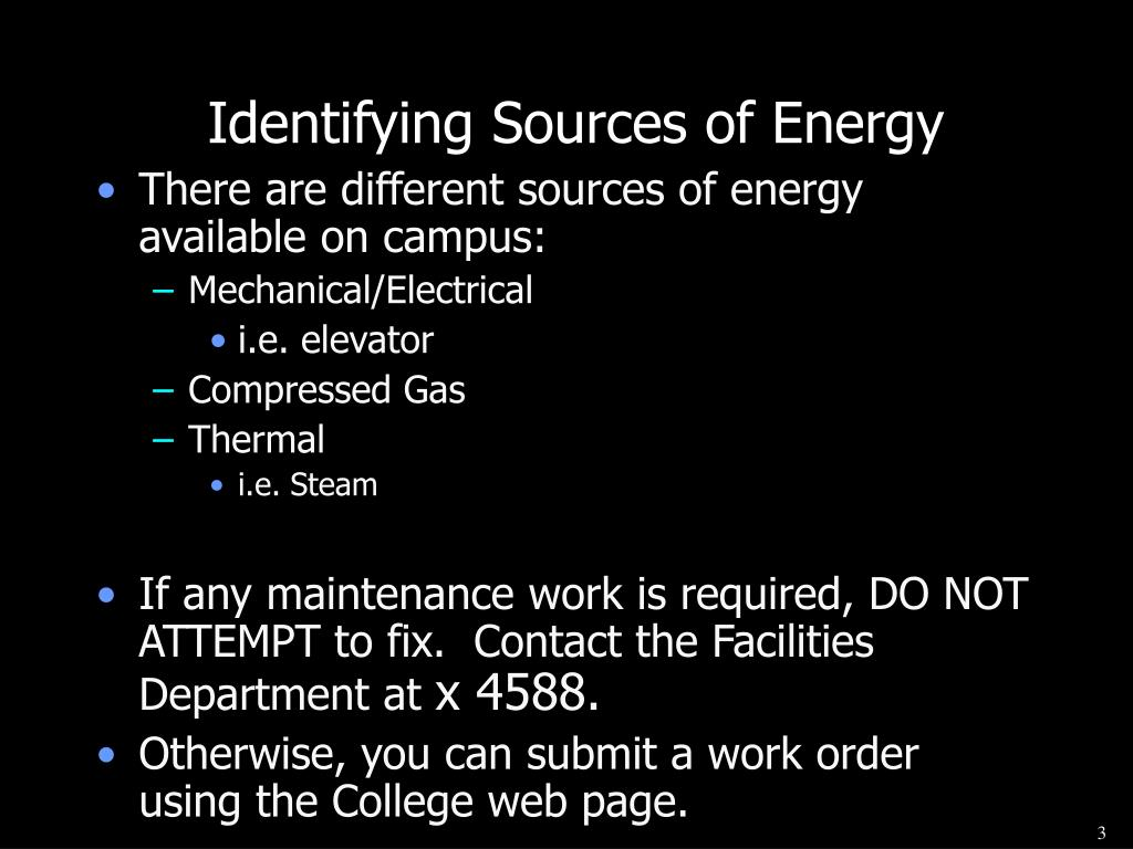 Identifying Sources of Energy