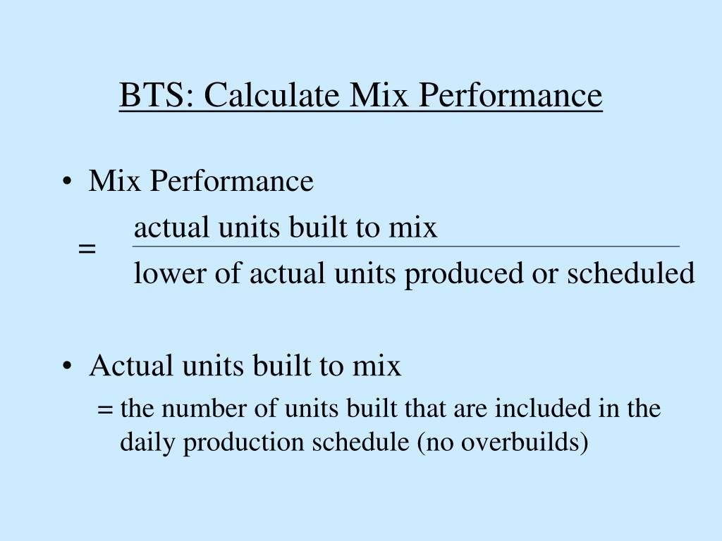 BTS: Calculate Mix Performance