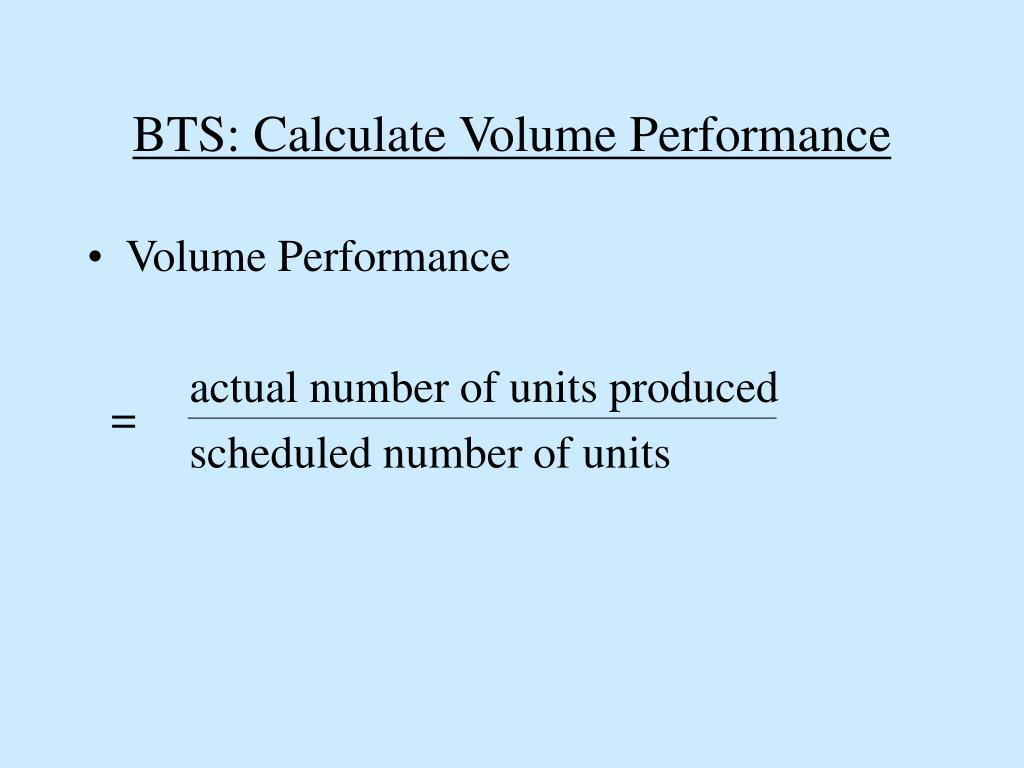 BTS: Calculate Volume Performance