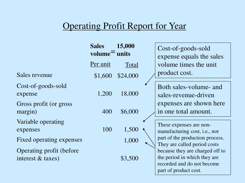Operating Profit Report for Year