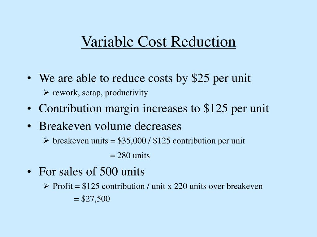 Variable Cost Reduction
