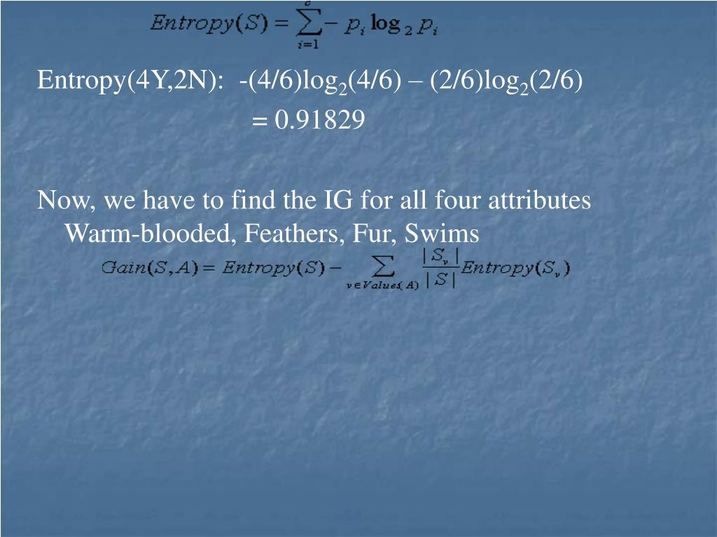 Entropy(4Y,2N):  -(4/6)log