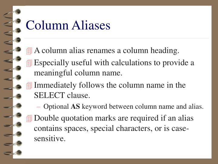 Column Aliases