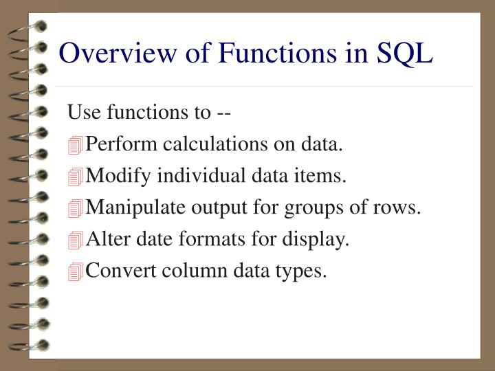 Overview of Functions in SQL