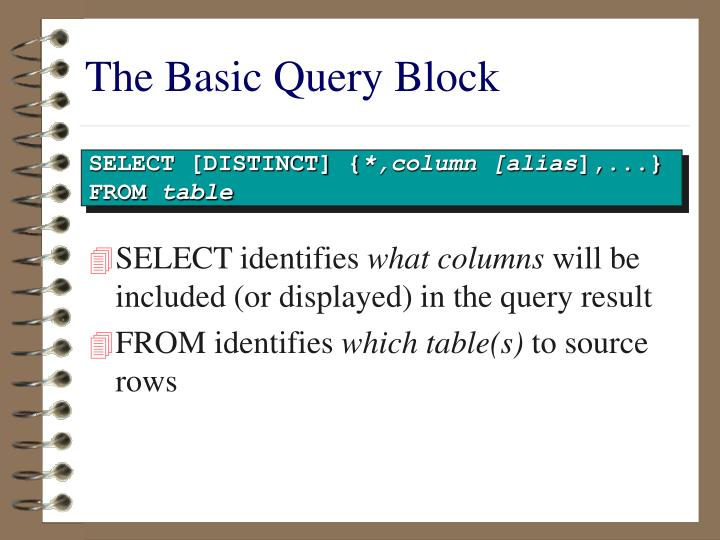 The basic query block