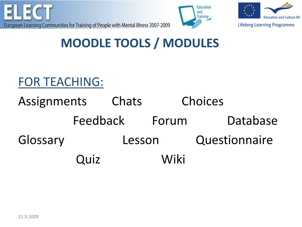 MOODLE TOOLS / MODULES