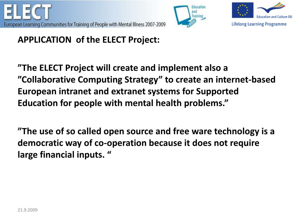 APPLICATION  of the ELECT Project: