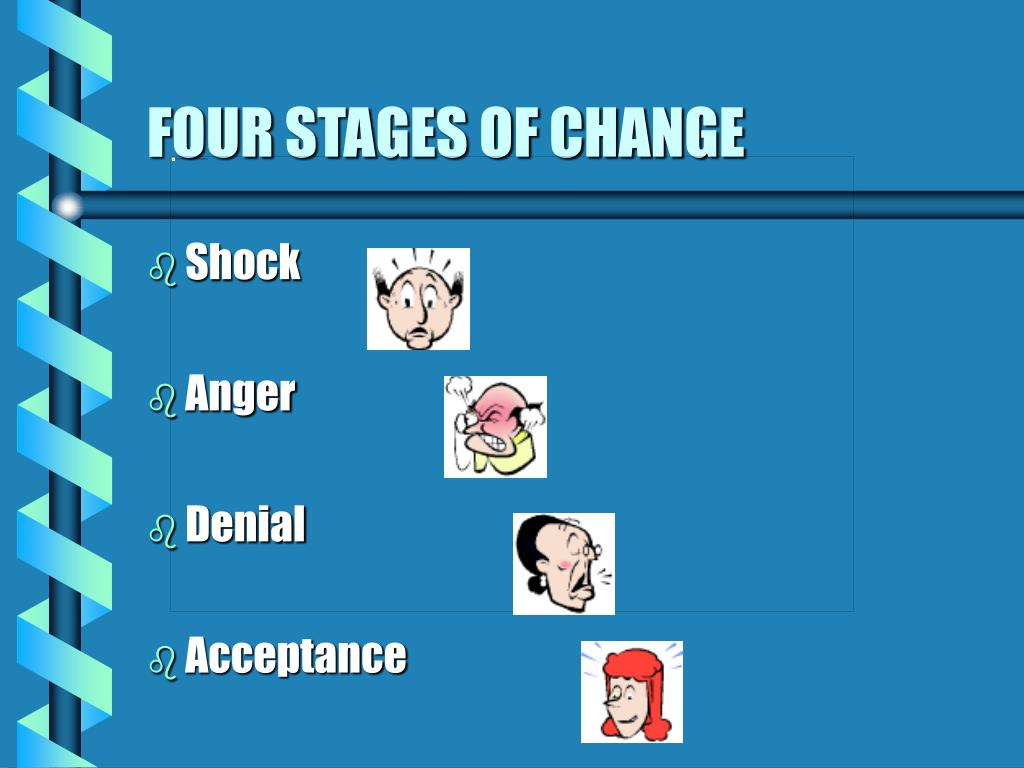 four stages of change The stages of change model, also known as the transtheoretical model (ttm),   (4) at this stage, women in a rural village may have heard from program staff,.