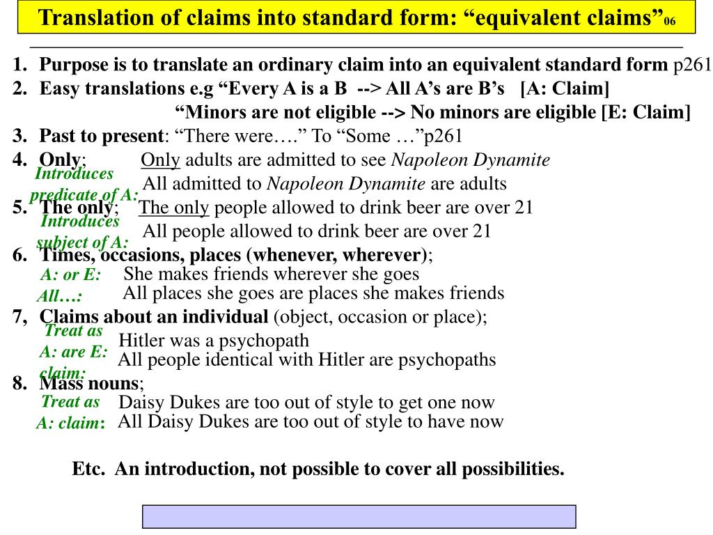 "Translation of claims into standard form: ""equivalent claims"""