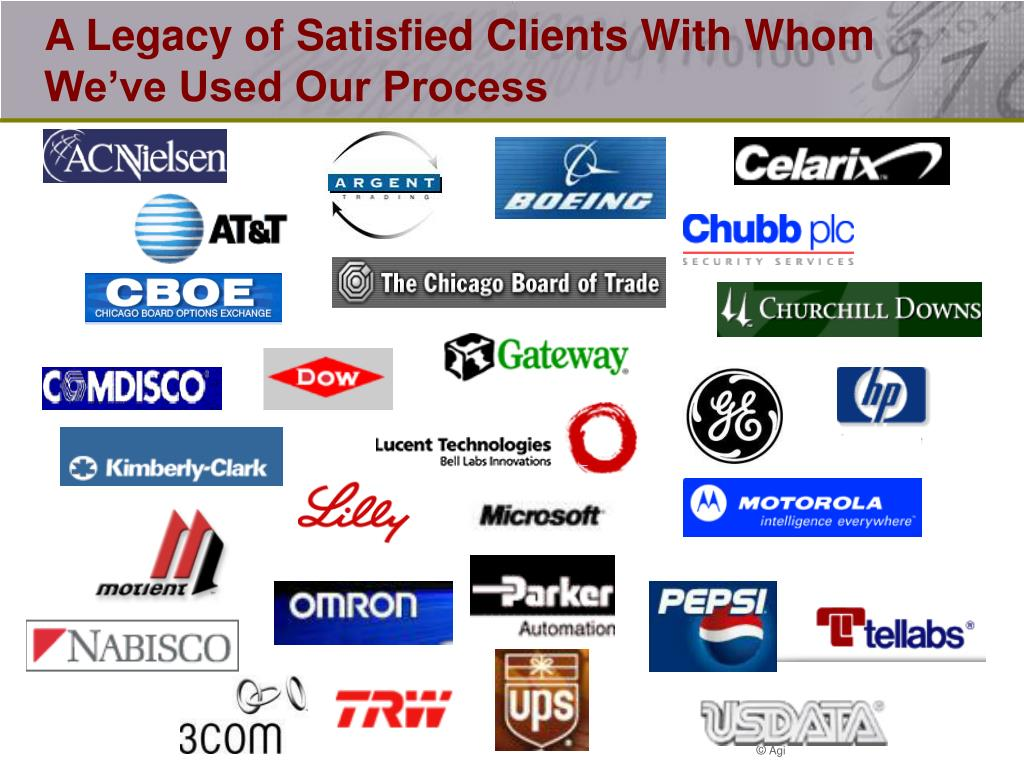 A Legacy of Satisfied Clients With Whom We've Used Our Process