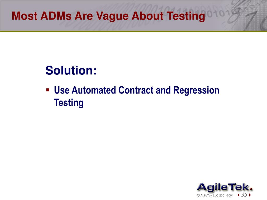 Most ADMs Are Vague About Testing