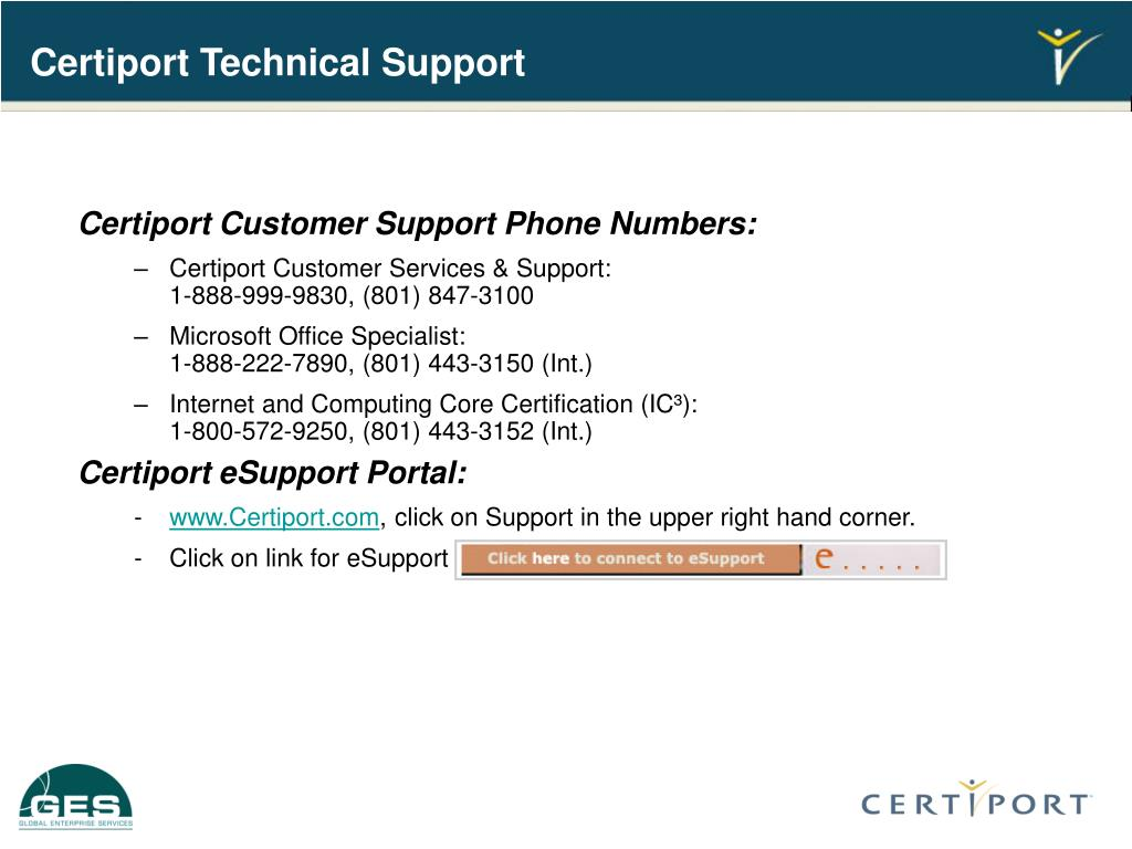 Certiport Technical Support