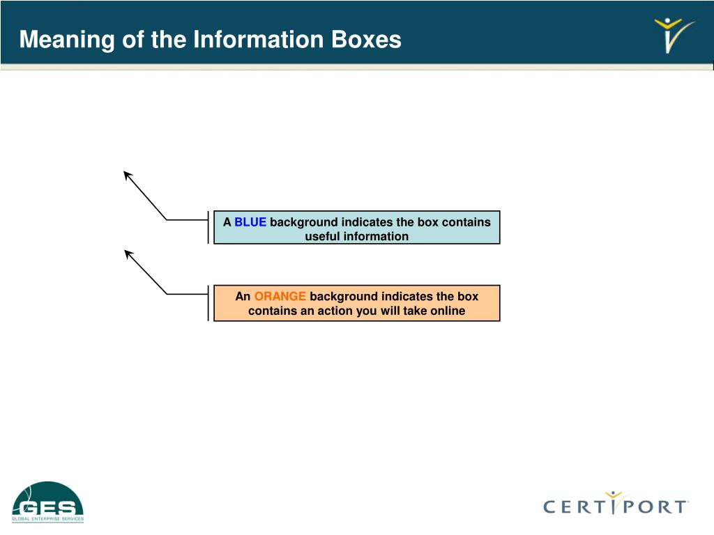 Meaning of the Information Boxes
