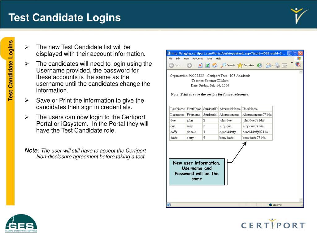 Test Candidate Logins