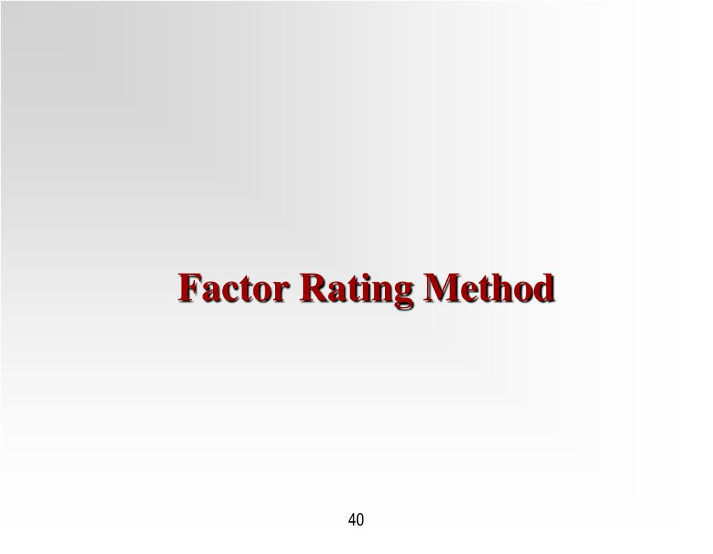 Factor Rating Method