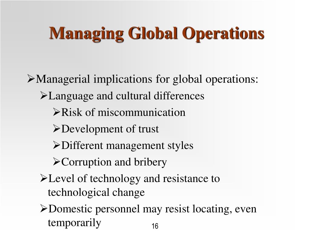 Managing Global Operations