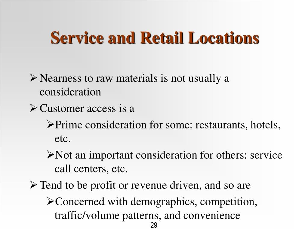 Service and Retail Locations