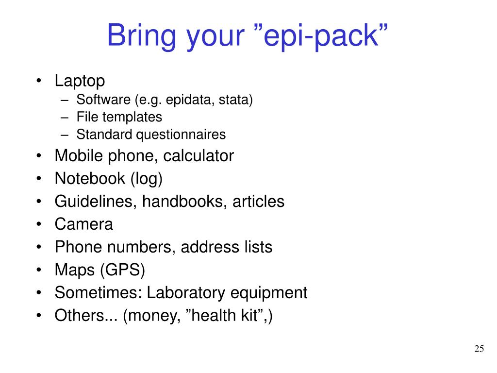 "Bring your ""epi-pack"""
