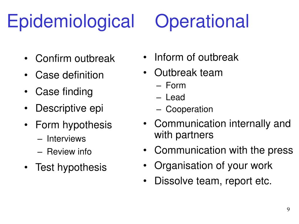 Epidemiological Operational