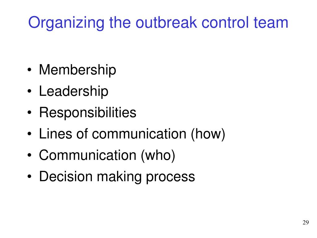 Organizing the outbreak control team