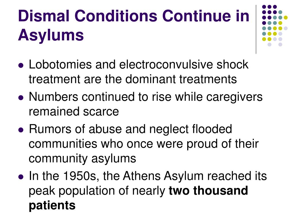 Dismal Conditions Continue in  Asylums