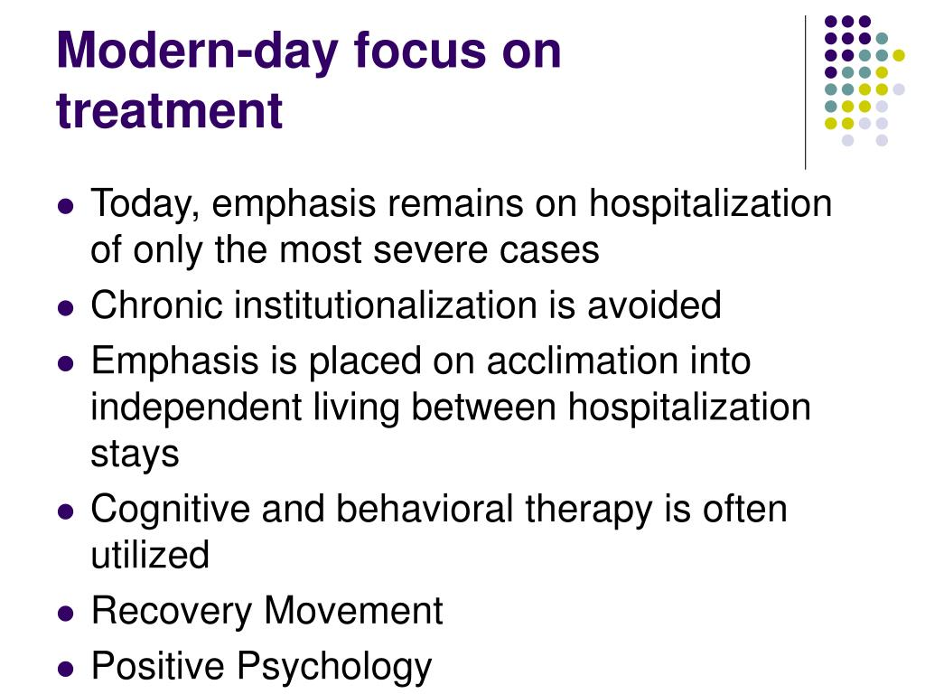 Modern-day focus on treatment